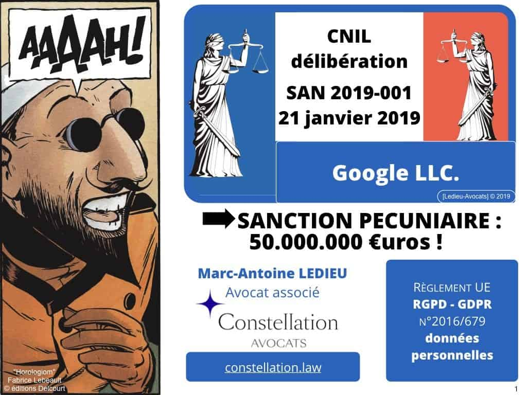 RGPD-GDPR sanction CNIL 21 janvier 2019 GOOGLE LLC