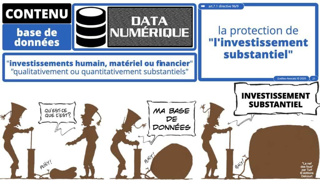 la notion d'investissement substantiel pour protéger le CONTENU d'une base de données