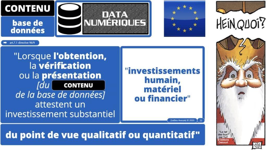 la protection de l'obtention, de la vérification et de la présentation du contenu d'une base de données